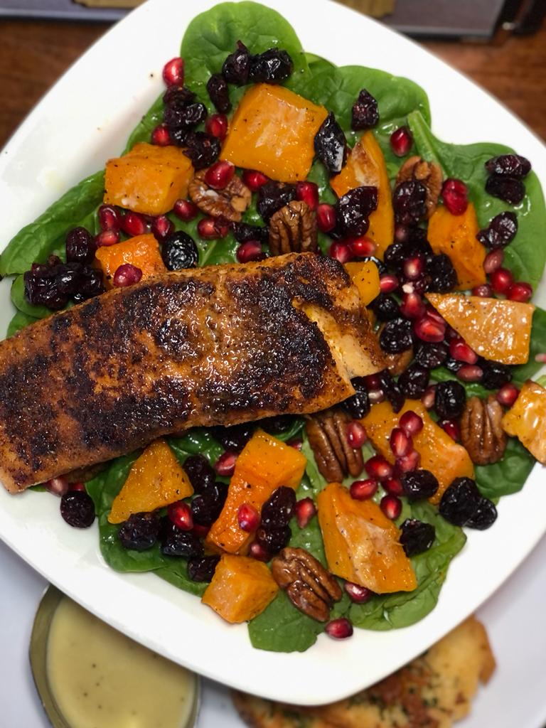 Blackened Salmon Butternut Squash and spinach salad